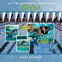 HM Swim Team - Scrap Page  designed by: Roxanne Buchholz  12x12 Scrap Page  Template ID: 37813