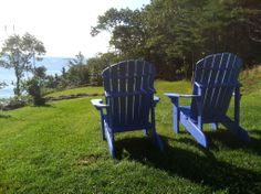 Standard Adirondack chairs finished in Watertown blue #faircapewoodworks