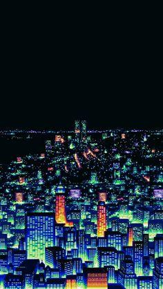 ngl this one reminds me of Seoul Pixel City, Pixel Art Background, Background Images, Vaporwave Wallpaper, 8 Bits, Vaporwave Art, 8bit Art, Futuristic City, Neon Aesthetic