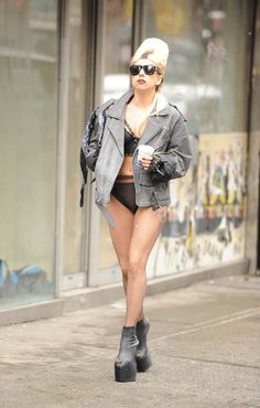 Wearing an all black punk outfit, Lady Gaga was spotted walking around the streets of NYC as she was filming her HBO special. February 21st, 2011.