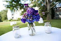 mason jar wedding centerpieces purple blue flowers