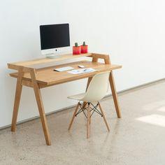 MODU desk - modular hardwood furniture with style. Launching on Kickstarter July Home Office Table, Home Office Setup, Home Desk, Home Office Space, Home Office Desks, Home Office Furniture, Furniture Projects, Cool Furniture, Furniture Design