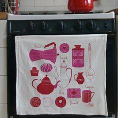 Very girly tea towel...