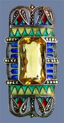 ART DECO Egyptian Revival Brooch 1925, Egyptian Revival Brooch  Silver, citrine, plique a jour enamel & marcasite  Length: 2.8 cm   Width: 5.7 cm. Probably German. Circa 1925