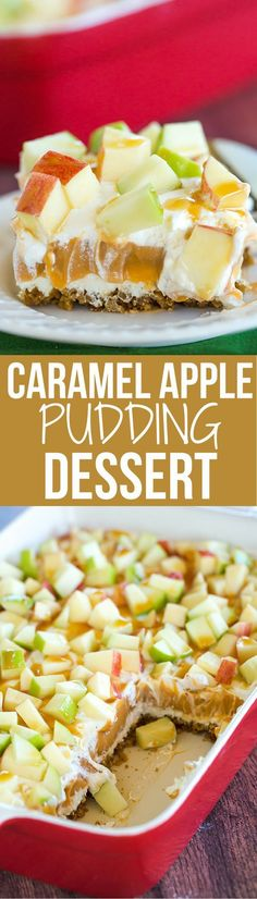 This caramel apple pudding has layers of caramel cheesecake filling, caramel pudding, a whipped cream topping, apples, and peanuts all on top of a gingersnap crust. #foodrecipes
