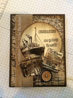 Masculine travel card with the Traveler Stamp Set from Stampin' Up!