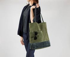 PRE-ORDER Olive Green Suede Leather Tote Bag with Pockets Minimalist Everyday Shoulder Bag Soft Leather Tote Large Leather Shopper Large Leather Tote Bag, Leather Purses, Leather Bags, Cow Leather, Suede Leather, Tote Bag With Pockets, Black Cow, Green Suede, Everyday Bag
