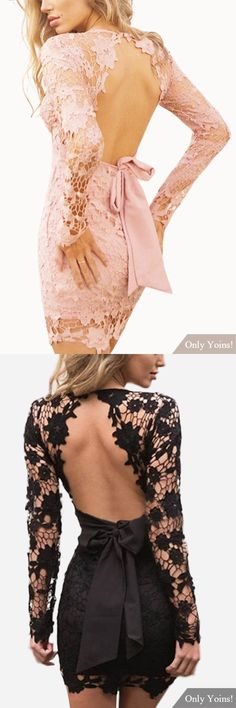 Sexy V-neck Hollow Design Backless Self-tie Lace Dress