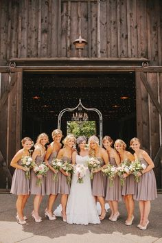 Neutral Color dress accented with wedding colors. Makes wedding pics look timeless!