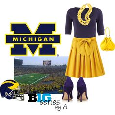 Cute for a football game - MINUS the heels! Maybe a cute blue or yellow pair of KEDS... COME ON its a SPORT event not a CLUB OUTING!