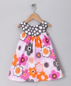 Gray Funky Flower Yoke Dress - Toddler & Girls