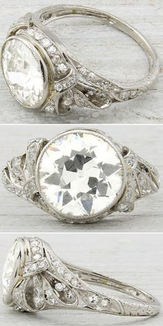 @ErstwhileCo Edwardian/early Art Deco engagement ring, circa 1905. Set with 2.33 carat EGL certified old European cut diamond with H-I color and SI1 clarity. Via Diamonds in the Library.