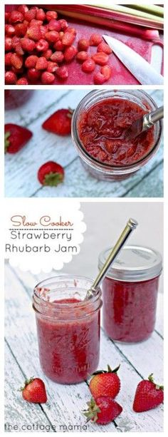 Slow Cooker Strawberry Rhubarb Jam ~ Recipe - The Cottage Mama