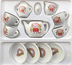 Peppa Pig Children's Ceramic Dolls 13 Piece Tea Set - Rainbow: Amazon.co.uk: Toys & Games Peppa Pig, Tea Set, Rainbow, Ceramics, Dolls, Amazon, Games, Tableware, Christmas