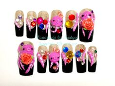 3D nails Japanese nail art kawaii octopus and gems on by Aya1gou, $21.80