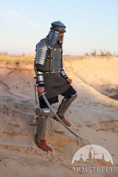 Eastern style functional armour kit: cuirass, pauldrons, bracers and greaves with cops for sale. Available in: stainless :: by medieval store ArmStreet