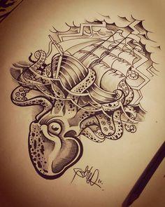 WEBSTA @ thiagogalileoart - Polvo e caravela .... #octopustattoo #octopus #tattoodesign #tattooart #caravela #polvo #artwork #tattoosketches  #blackandgray #arte #art #ilustration #ilustracion #ilustraçao #desenho #tradicionaltattoo #marinetattoo
