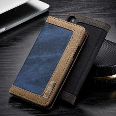 Luxury Magnetic Denim Canvas Wallet Case for iPhone X Cover with Card Holder - Black,Blue,Brown,Pink Iphone 10, Free Iphone, Apple Iphone 6, Leather Case, Leather Wallet, Pu Leather, Mobile Phone Shops, Mobile Phones, Phone Codes
