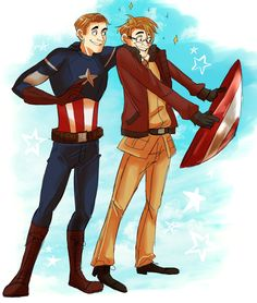 timetoy: Hetalia America and Captain America  commission for my best friend valefor!!!! -The prompt was to draw Alfred Jones from Hetalia and Captain America being Bros   THIS WAS A LOT OF FUN TO DRAW I hope you like it gurllll <3333 /HUGS