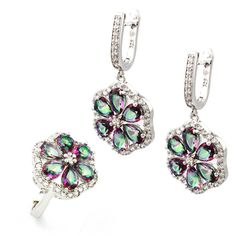Floral Design Jewelry Set 925 Sterling Silver Earrings & Ring Size 7.5#HS0062S Hermosa 2017 SALE //Price: $40.49 & FREE Shipping // #fashionjewelry #fashion #fashionable #style #styles #musthave #accessories