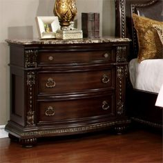 Furniture Of America Fromberg with Traditional Style,Genuine Marble Top,Felt-Lined Top Drawers,Solid Wood/Wood Veneer/Others,Brown Cherry Finish Bedside Storage, 3 Drawer Nightstand, Storage Chest, Accent Furniture, Bedroom Furniture, Bedroom Decor, Furniture Ideas, Furniture Nyc, Classic Furniture