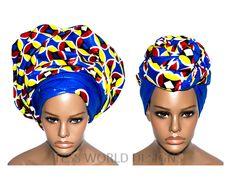 HT72 - Extra long African Head Wraps, fancy
