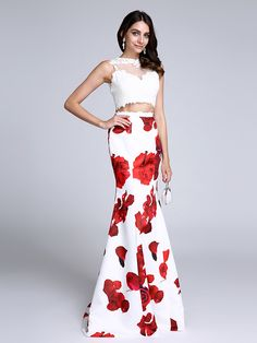 2017 TS Couture® Prom Formal Evening Dress Trumpet / Mermaid Jewel Sweep / Brush Train Satin with Pattern / Print / Lace - USD $89.99 ! HOT Product! A hot product at an incredible low price is now on sale! Come check it out along with other items like this. Get great discounts, earn Rewards and much more each time you shop with us!