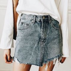 Distressed denim skirt  Street style, street fashion, best street style, OOTD, OOTD Inspo, street style stalking, outfit ideas, what to wear now, Fashion Bloggers, Style, Seasonal Style, Outfit Inspiration, Trends, Looks, Outfits.