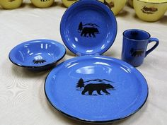 RP10326.BERS - 16pc. Rustic Pioneer Stoneware Dinnerware Set - Bear and Mountain Silhouette