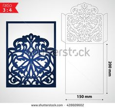 Luxury laser cut wedding invitation envelope template. Die cut sleeve envelope mockup for wedding invitation cards. Cutout paper envelope for cutting machines. Laser cutting template vector card.