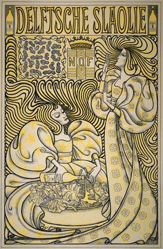 "Jan Toorop(1858-1928)  ""Delftsche Slaolie"" (Delft salad oil). Poster design, 1894"