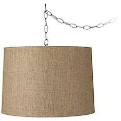 "Tan Weave 16"" Wide Brushed Steel Swag Chandelier"