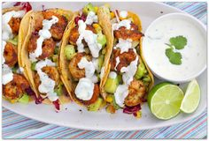 Shrimp Tacos w/ Cilantro Lime Cream. The ultimate taco for the season light and flavorful with a bit of sweetness and zest! These shrimp tacos are sure to impress! Shrimp Taco Recipes, Shrimp Tacos, Mexican Food Recipes, Ethnic Recipes, Mexican Entrees, Food Shrimp, Chicken Tacos, Fish Tacos, Mexican Dishes