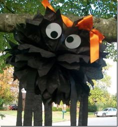 Pom pom spider decoration.