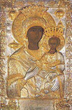 The Holy Icon of Panagia Odegetria Madonna Art, Madonna And Child, Religious Icons, Religious Art, Russian Icons, Art Corner, Catholic Art, Orthodox Icons, Blessed Mother