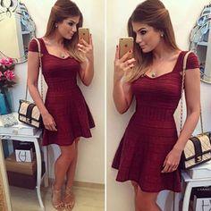 Vestido de festa 2016 Spring summer ball gown ladies red party dress vintage bandage short sleeve