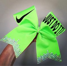 JUST DO IT! Lime Green Spandex Cheer Bow with Rhinestone bling! Glitter words and swoosh! Ponytail holder attached! Free Shipping!
