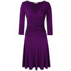 MISSKY Women 3/4 Long Sleeve Crossover Wrap V Neck Ruched Waist... ❤ liked on Polyvore featuring dresses, long sleeve wrap dress, purple dresses, purple midi dress, midi dress and long sleeve v neck dress