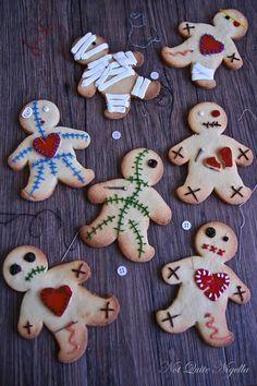 Voodoo Doll Cookies - Great way to reuse Gingerbread Men cookie cutters!