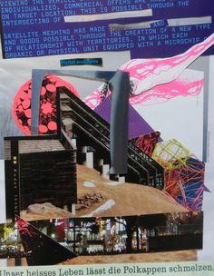 Collage » Das heisse Leben der Neunziger «  30 x 40 cm | crop 20 x 30 cm   Source: Flyer Köln ca.1997, HP Lenticular-Werbepostkarte 1999, Times of the Signs - a visual analysis or new urban spaces 2007, SZ Langstrecke QuartalIV/2015, Lürzer's Archiv Nr. 3/11, Ausstellungs-Einladungspostkarte Bozen, EPSON XP-422 Ausdruck auf farbigem Recycling-Papier  Medium: Seite einer Werbebeilage (Modeheft) SZ WE-Ausgabe 9/10.4.2016