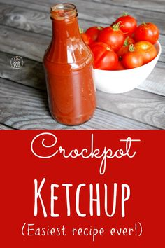 Ketchup (Easiest recipe ever!) Crockpot Ketchup -- Easiest Recipe Ever: Throw it ALL in and forget it!Crockpot Ketchup -- Easiest Recipe Ever: Throw it ALL in and forget it! Canning Recipes, Paleo Recipes, Real Food Recipes, Paleo Sauces, Homemade Ketchup, Homemade Sauce, Crock Pot Ketchup Recipe, Paleo Ketchup, Crock Pot Cooking