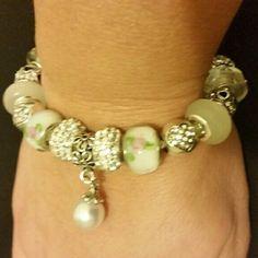 European style bracelet European style bracelet 7.5 inch of length handmade with murano glass beads and charms handmade Jewelry Bracelets
