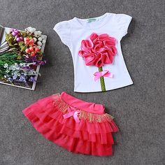 LZH Children Clothes 2017 Summer Kids Girls Clothes Set Flower T-Shirt+Skirt Outfit Girl Sport Suit Children Girls Clothing – Kid Shop Global – Kids & Baby Shop Online – baby & kids clothing, toys for baby & kid Kids Outfits Girls, Shirts For Girls, Kids Girls, Girl Outfits, Girls Dresses, Girl Shirts, Baby Kids, Party Dresses, Toddler Girl
