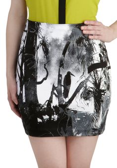 Forever and Everglades Skirt by Motel - Black, White, Print with Animals, Mini, Party, Girls Night Out
