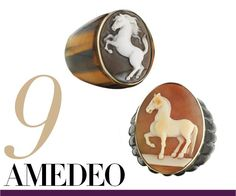 Amedeo Sardonyx shell cameo set in 14k gold on tiger-eye band ring, $1,650For information: cameos.com