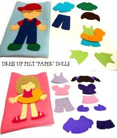 """Felt """"paper"""" dolls - in Czech, but click through for template"""