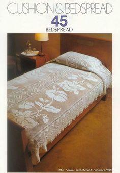 Crochet bedspread, filet work ♥LCB♥ with diagrams