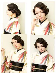 100440:青山香純 まとめ髪 耳隠し フィンガーウェーブ 髪飾り おめかし、おでかけ お散歩 アンティーク着物 by Dali photo theater