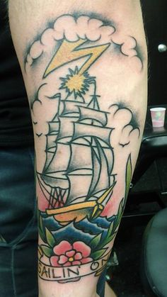 Clipper Ship, Northeast Tattoo and Body Piercing, Minneapolis, MN, Twin Cities, Tattoos, Tattoo Artist, Art, Traditional Tattoo, Color Tattoo, Guys with Tattoos, Nofilter