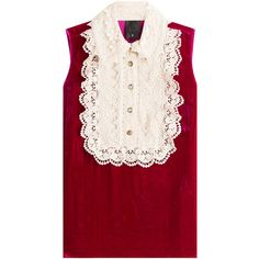 Anna Sui Velvet Sleeveless Top (7.143.645 IDR) ❤ liked on Polyvore featuring tops, blouses, anna sui, pink, red, red sleeveless top, button blouse, red velvet blouse, velvet top and pink sleeveless top
